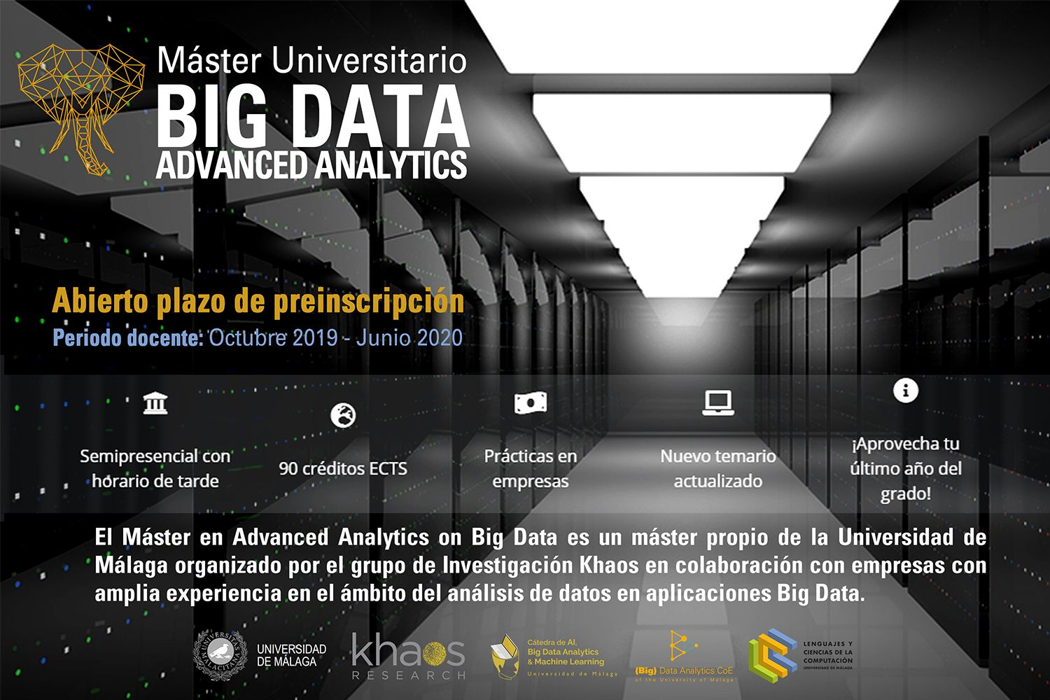 La UMA abre el período de preinscripción de la IV Edición del Máster Advanced Analytics on Big Data